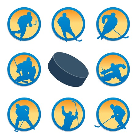 fiambres: Conjunto de hockey. ilustraci�n Vectores