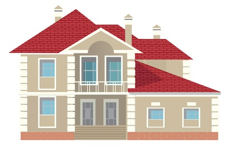 pitched roof: Cottage (Detailed). Vector illustration