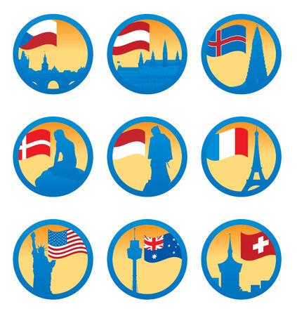 danmark: Flags and symbols. Vector illustration  Illustration
