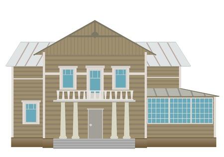 back yard: Casa de campo (detallado). Ilustraci�n vectorial  Vectores