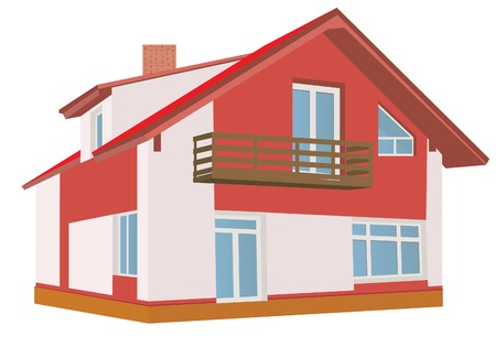 front or back yard: Cottage (Detailed). Vector illustration  Illustration