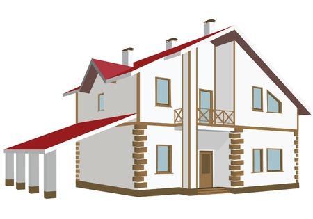 pitched roof: Cottage (Detailed). Vector illustration