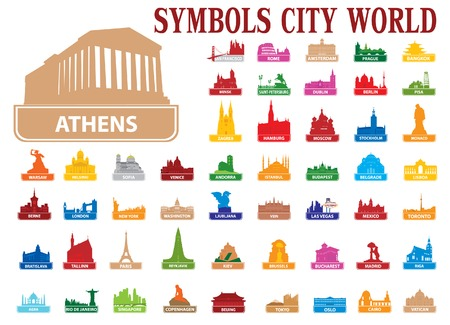 european culture: Symbols city world. Vector illustration