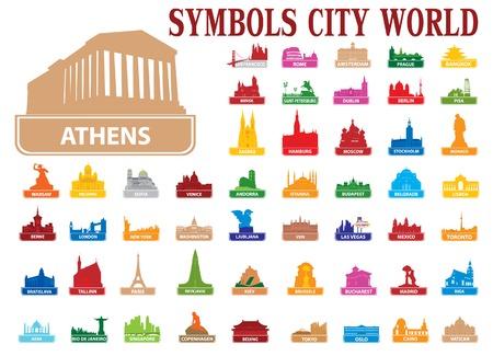 destination scenic: Symbols city world. Vector illustration