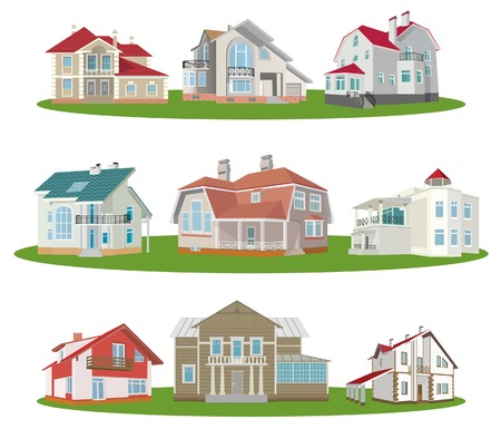 front or back yard: Cottages. Set. Vector illustration