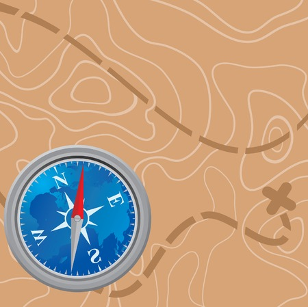 Map and compass.  Vector