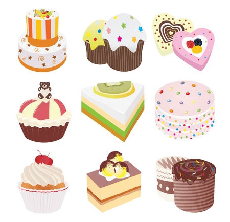 confection: Cakes. Set. Illustration
