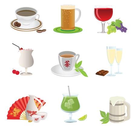 Drinks icon. Set. Vector