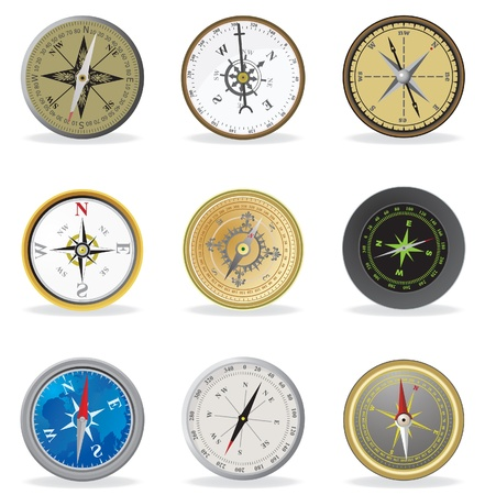 Compass. Vector set illustration  Vector