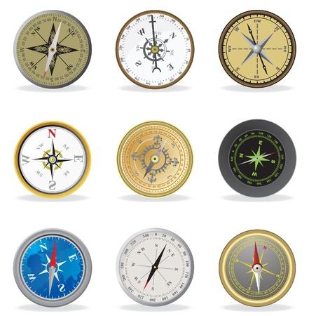 dial compass: Compass. Vector set illustration