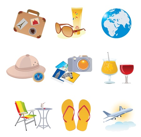 Tourism and vacation icons. Vector illustration Stock Vector - 9201605