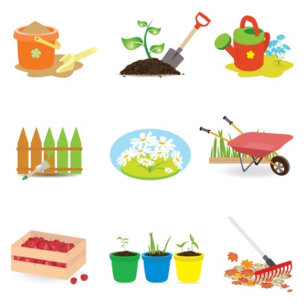 gardening equipment: Universal icons. Vector illustration  Illustration