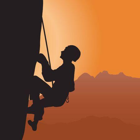 rappelling: Rock climbing. Vector illustration