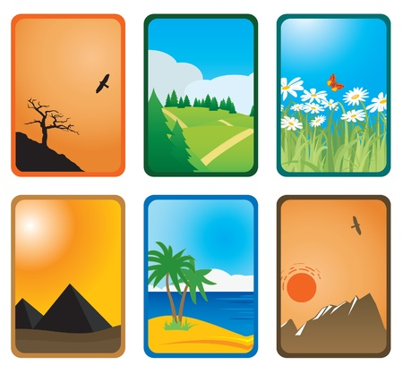 pyramid of the sun: Nature cards. Vector illustration