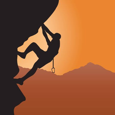 climbing mountain: Rock climbing. Vector illustration Illustration
