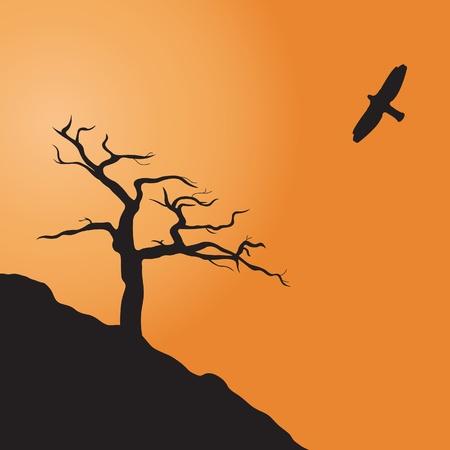 yellow hills: Dead tree. Vector illustration