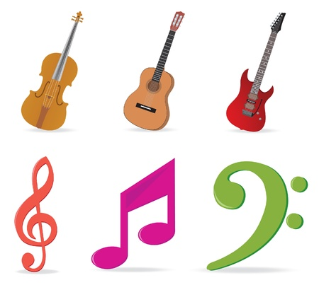 musical instruments: Music symbols and instruments Illustration