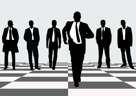 diverse business team: Men in Black Suits and Tie over checkered flooring