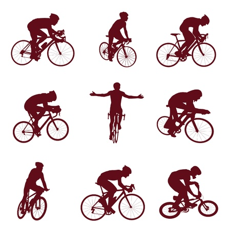 cyclist silhouette: Cycling silhouettes. Vector illustration