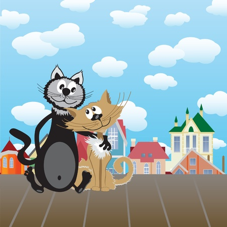 Two lovers cats. Vector illustration Vector