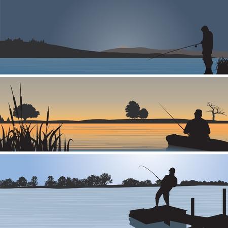 рыбаки: Рыбалка. Векторные иллюстрации