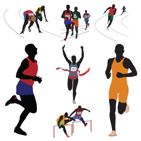 athletics track: Runners. Set. Vector illustration
