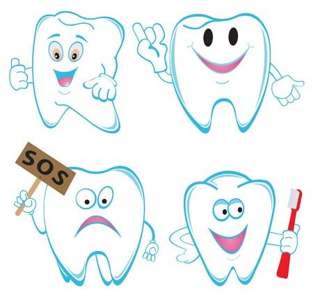 dientes caricatura: Tooths. Set. Ilustración vectorial