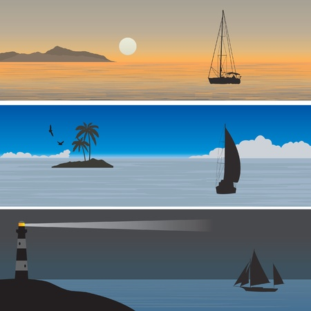 Sailboats.  Vector