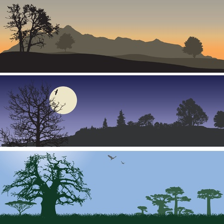 panoramic sky: Landscape banners. Illustration