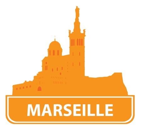 marseille: Marseille skyline. Vector illustratie Stock Illustratie