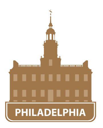 built: Philadelphia outline. Vector illustration