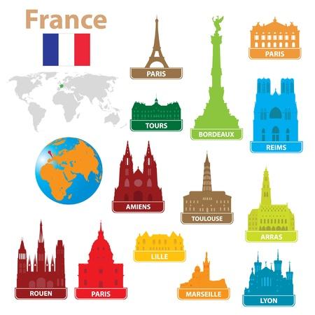 Simboli della città in Francia. Vector illustration Vettoriali