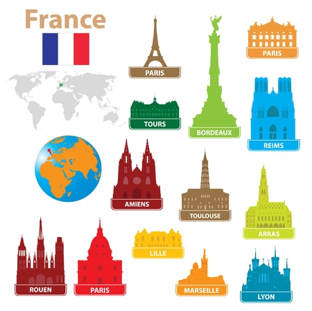 silouette: Symbols city to France. Vector illustration  Illustration