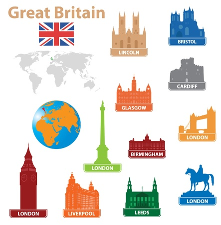 leeds: Symbols city to Great Britain. Vector illustration Illustration