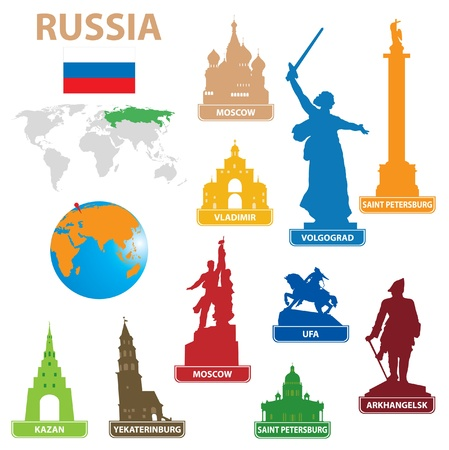 Symbols city to Russia. Vector illustration