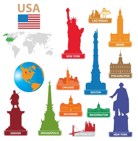 map of usa: Symbols city USA. Vector illustration