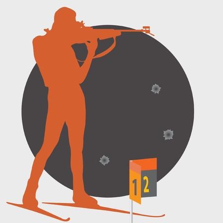 hombre disparando: Biatlón. De disparo.