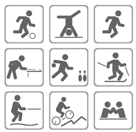 deportes caricatura: Conjunto de iconos del deporte. Ilustración vectorial