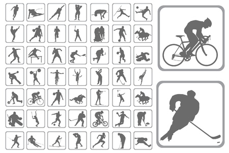 icono deportes: El Siluetas atleta. Conjunto de los botones de diseño web Vectores