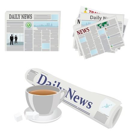 peri�dico: Varios iconos de prensa. Ilustraciones vectoriales Vectores