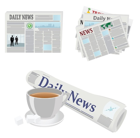 newspaper headline: Various newspaper icons. Vector illustrations