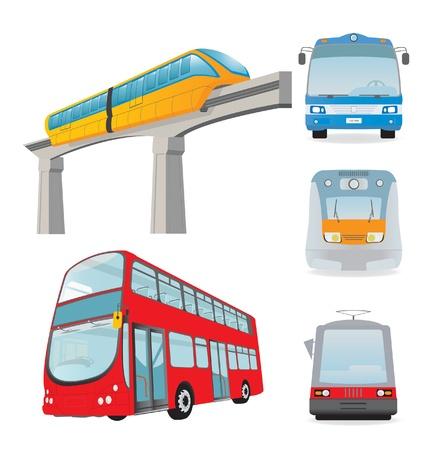 red bus: Town passenger transport. Set. Vector illustration Illustration