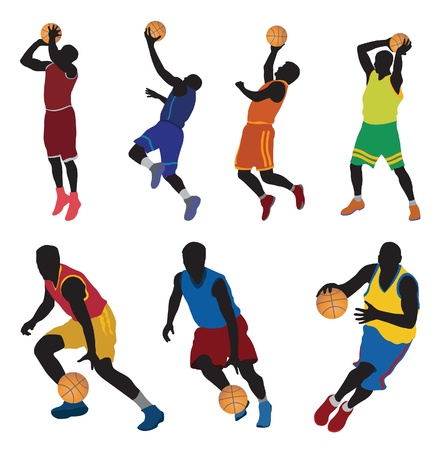 basketball shot: Basketball players. Vector