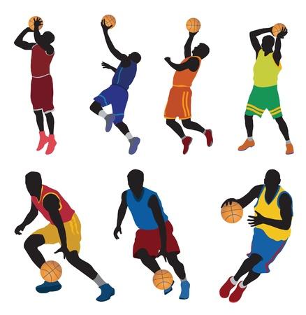 dunk: Basketball players. Vector