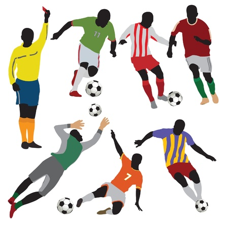 football kick: Soccer players collection.Vector
