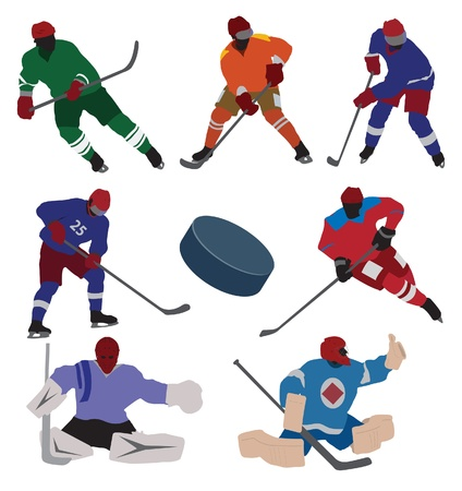 ice hockey player: Ice hockey set. Vector