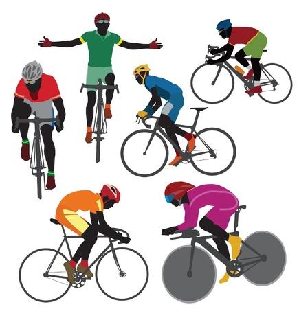 ciclista: Siluetas ciclista. Vector Vectores