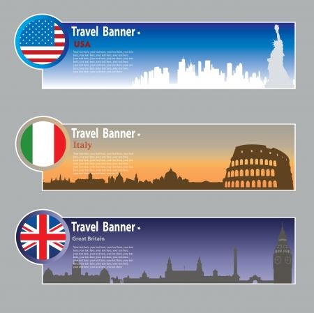 bandera de gran bretaña: Banderas de viajes: Estados Unidos, Italia y Gran Bretaña Vectores
