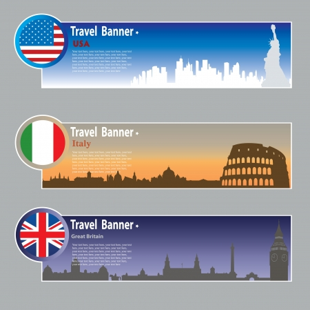 Travel banners: USA, Italy and Great Britain