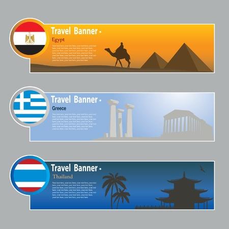 Banderas de viajes: Egipto, Grecia y Tailandia Ilustración de vector